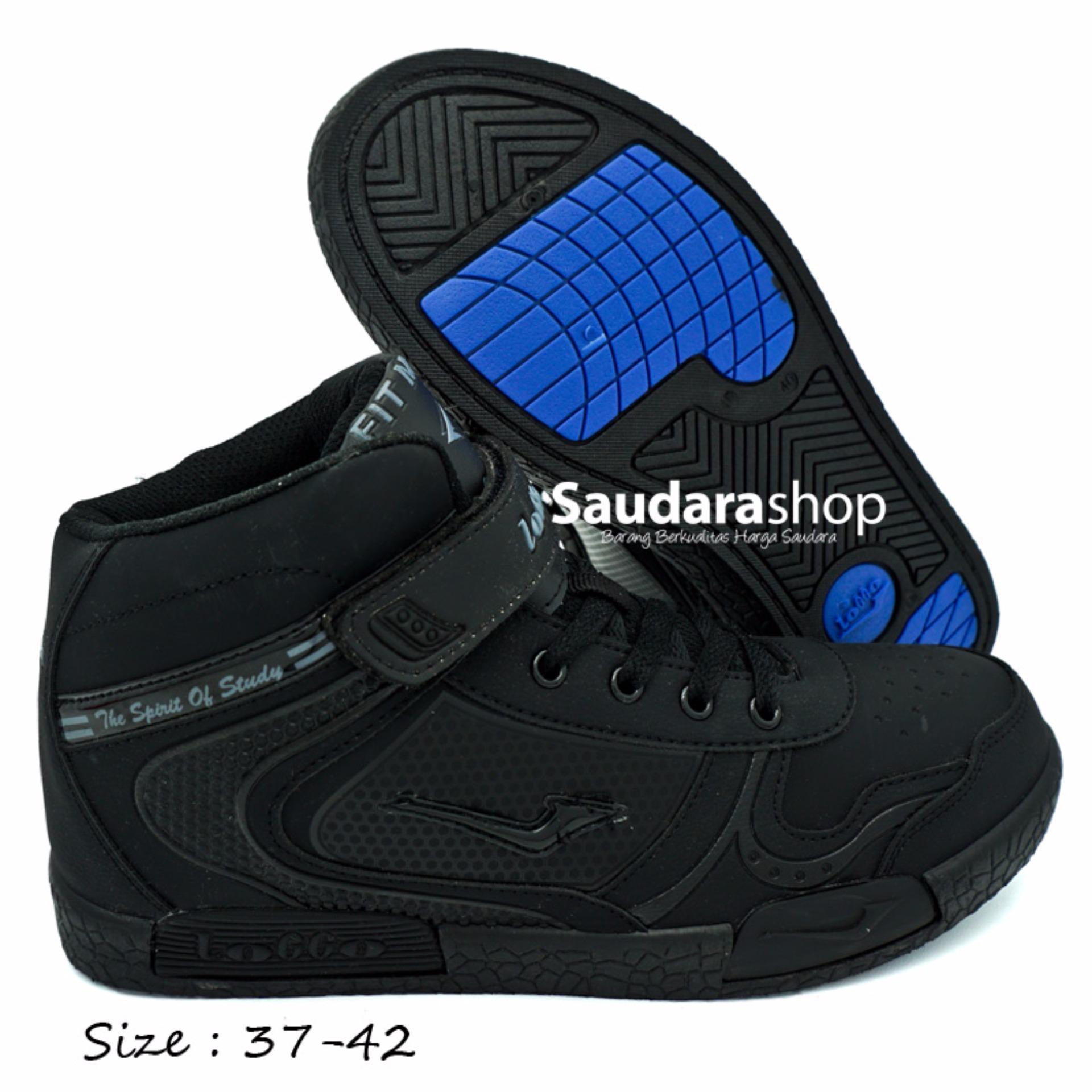 Beli Loggo Sepatu Sekolah High All Black 37 42 Sepatu Sekolah Tinggi Cicil